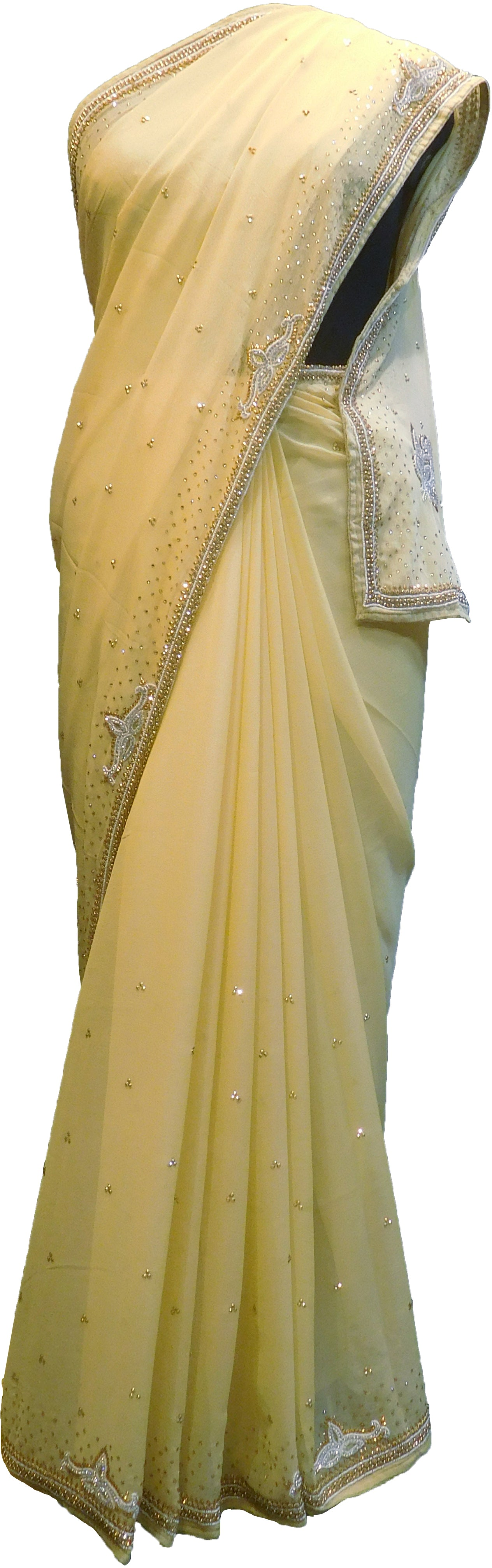 SMSAREE Beige Designer Wedding Partywear Georgette Stone Thread Beads & Cutdana Hand Embroidery Work Bridal Saree Sari With Blouse Piece F281