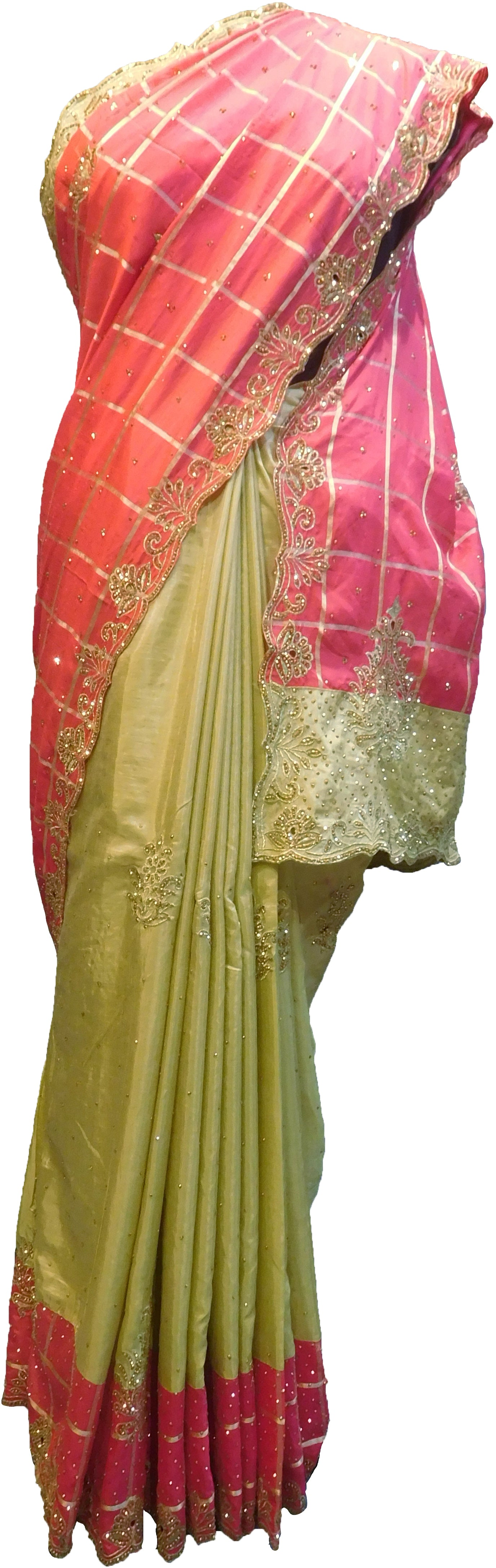 SMSAREE Pink & Golden Designer Wedding Partywear Silk Stone & Zari Hand Embroidery Work Bridal Saree Sari With Blouse Piece F282