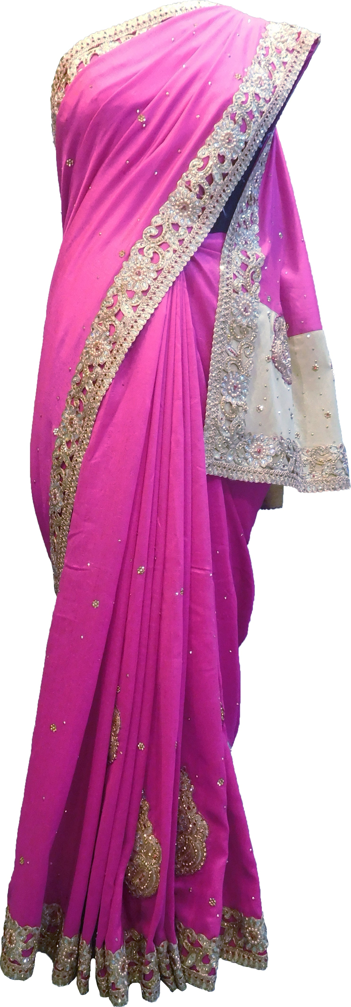 SMSAREE Pink & Golden Designer Wedding Partywear Silk (Vichitra) Stone Thread & Zari Hand Embroidery Work Bridal Saree Sari With Blouse Piece F283