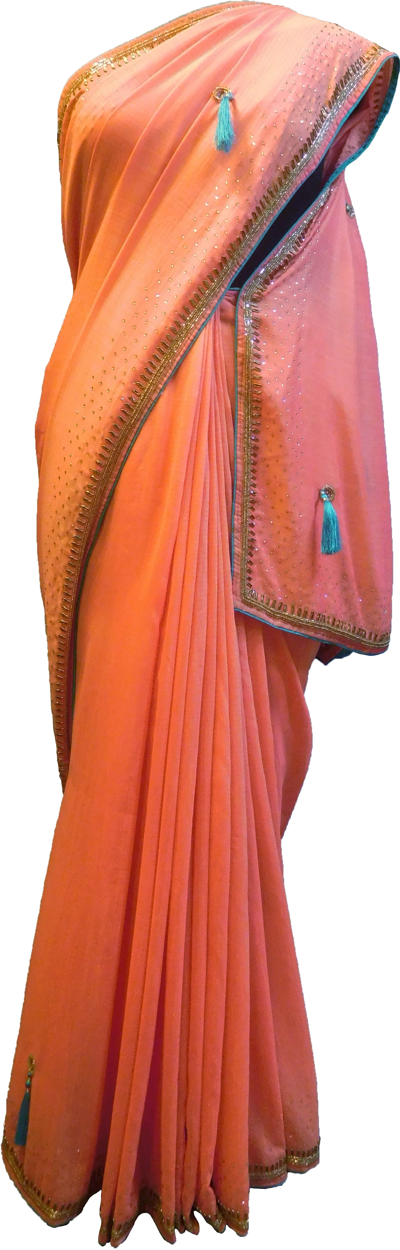 SMSAREE Orange Designer Wedding Partywear Georgette Stone Thread Beads & Cutdana Hand Embroidery Work Bridal Saree Sari With Blouse Piece F284