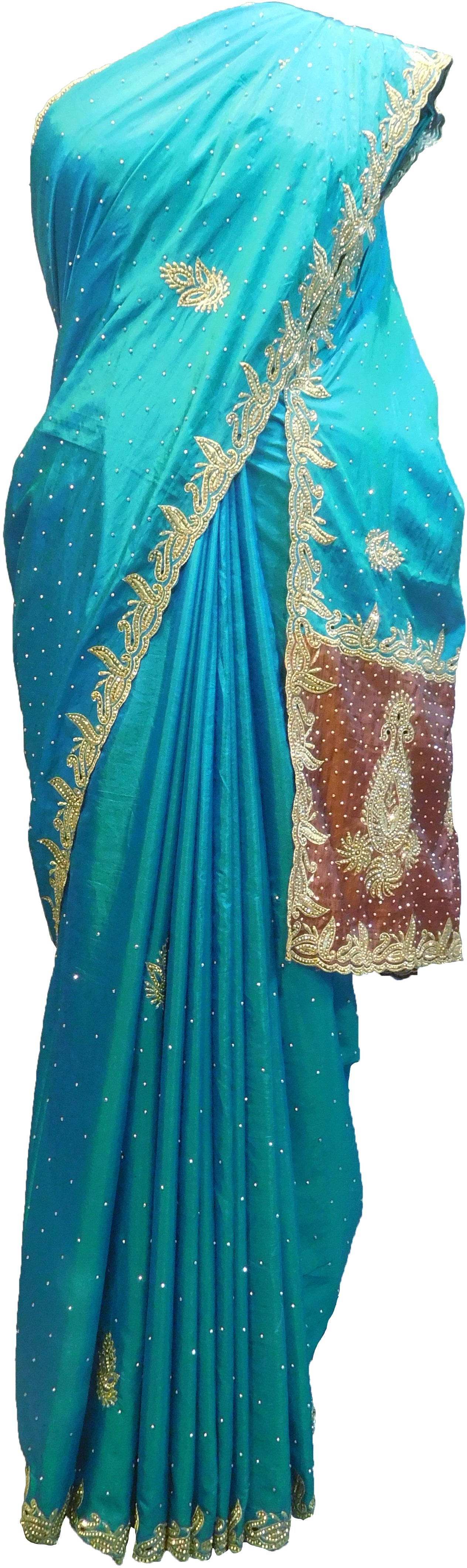 SMSAREE Blue & Brown Designer Wedding Partywear Silk Stone & Zari Hand Embroidery Work Bridal Saree Sari With Blouse Piece F287