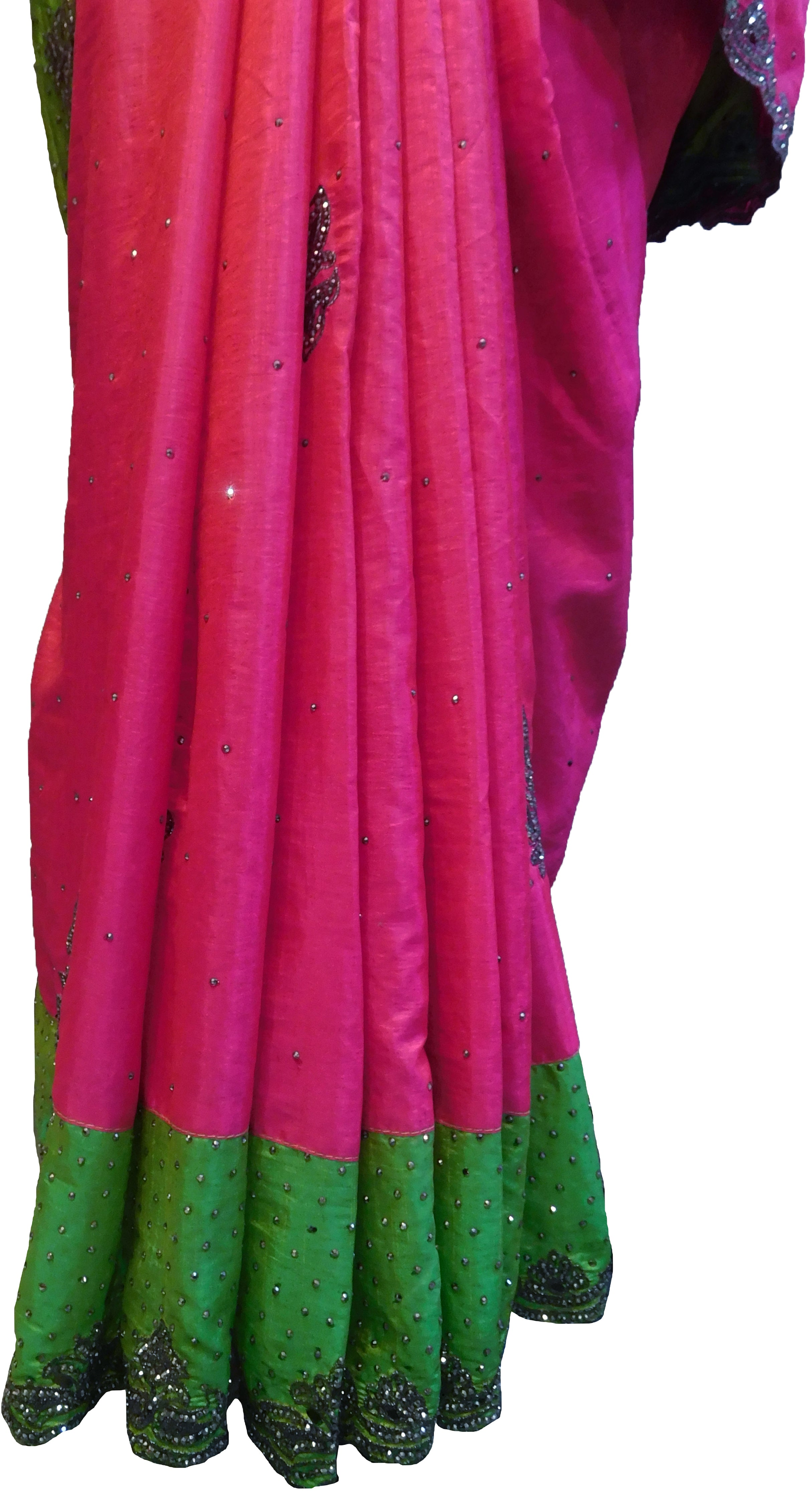SMSAREE Pink & Green Designer Wedding Partywear Silk Stone Thread & Zari Hand Embroidery Work Bridal Saree Sari With Blouse Piece F290