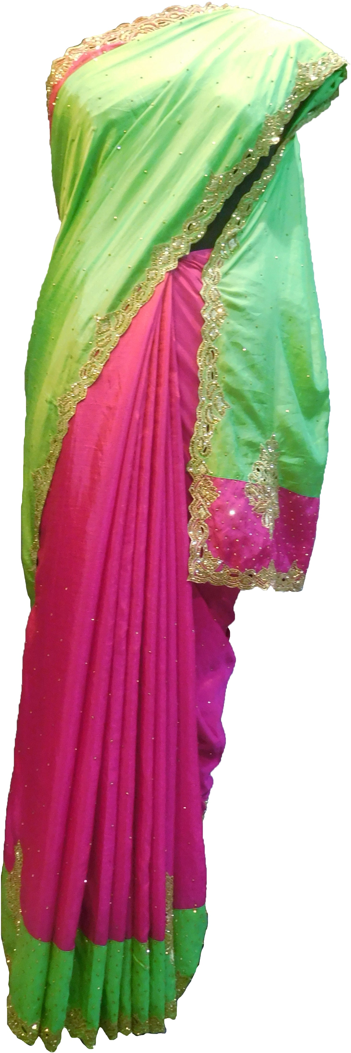 SMSAREE Green & Pink Designer Wedding Partywear Silk Stone & Zari Hand Embroidery Work Bridal Saree Sari With Blouse Piece F292
