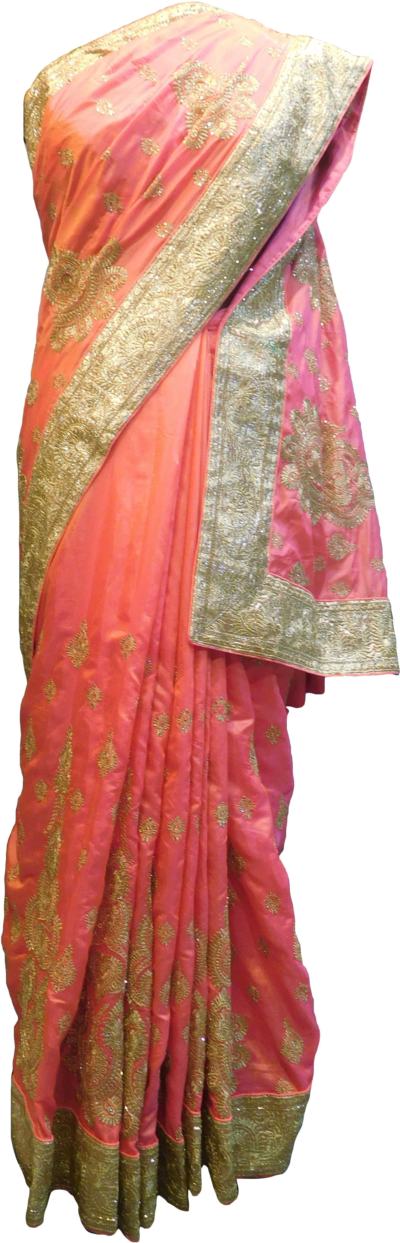 SMSAREE Pink Designer Wedding Partywear Silk Stone Cutdana & Zari Hand Embroidery Work Bridal Saree Sari With Blouse Piece F293
