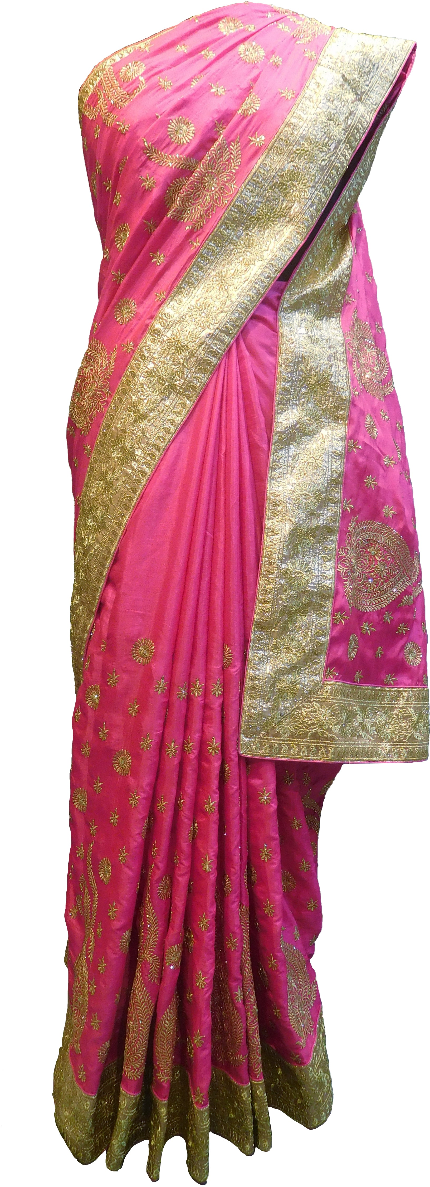 SMSAREE Pink Designer Wedding Partywear Silk Stone Cutdana & Zari Hand Embroidery Work Bridal Saree Sari With Blouse Piece F294