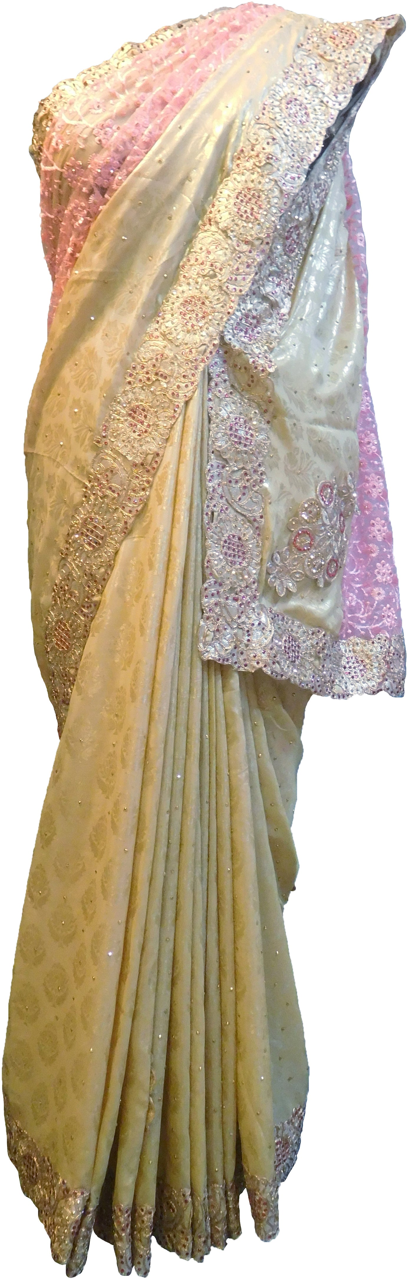 SMSAREE Golden & Pink Designer Wedding Partywear Georgette Stone Thread Beads & Zari Hand Embroidery Work Bridal Saree Sari With Blouse Piece F296