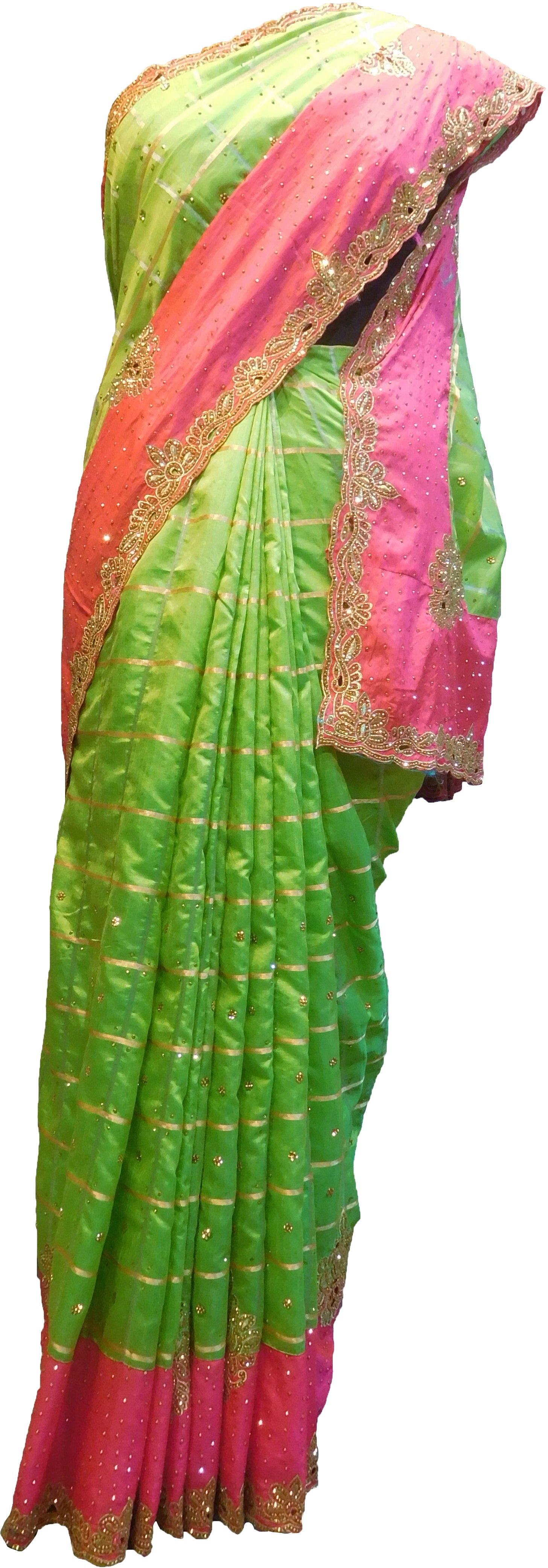 SMSAREE Green & Pink Designer Wedding Partywear Silk Stone & Zari Hand Embroidery Work Bridal Saree Sari With Blouse Piece F298