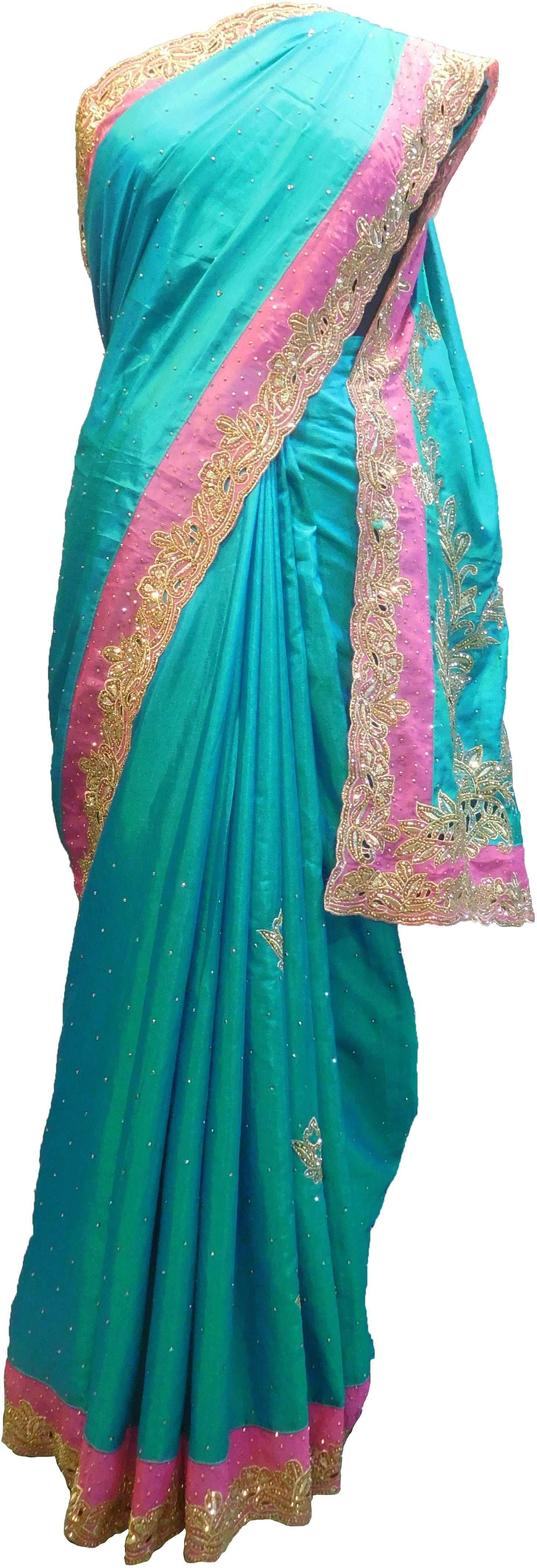 SMSAREE Turquoise & Pink Designer Wedding Partywear Silk Stone & Zari Hand Embroidery Work Bridal Saree Sari With Blouse Piece F302