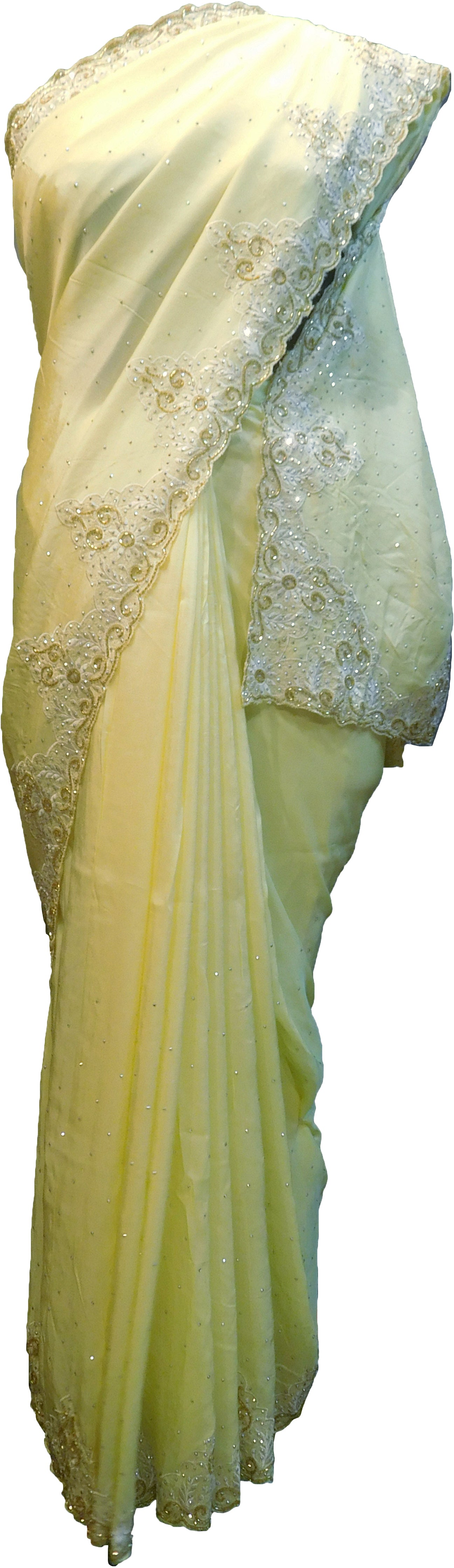SMSAREE Yellow Designer Wedding Partywear Crepe (Chinon) Stone Thread & Cutdana Hand Embroidery Work Bridal Saree Sari With Blouse Piece F306