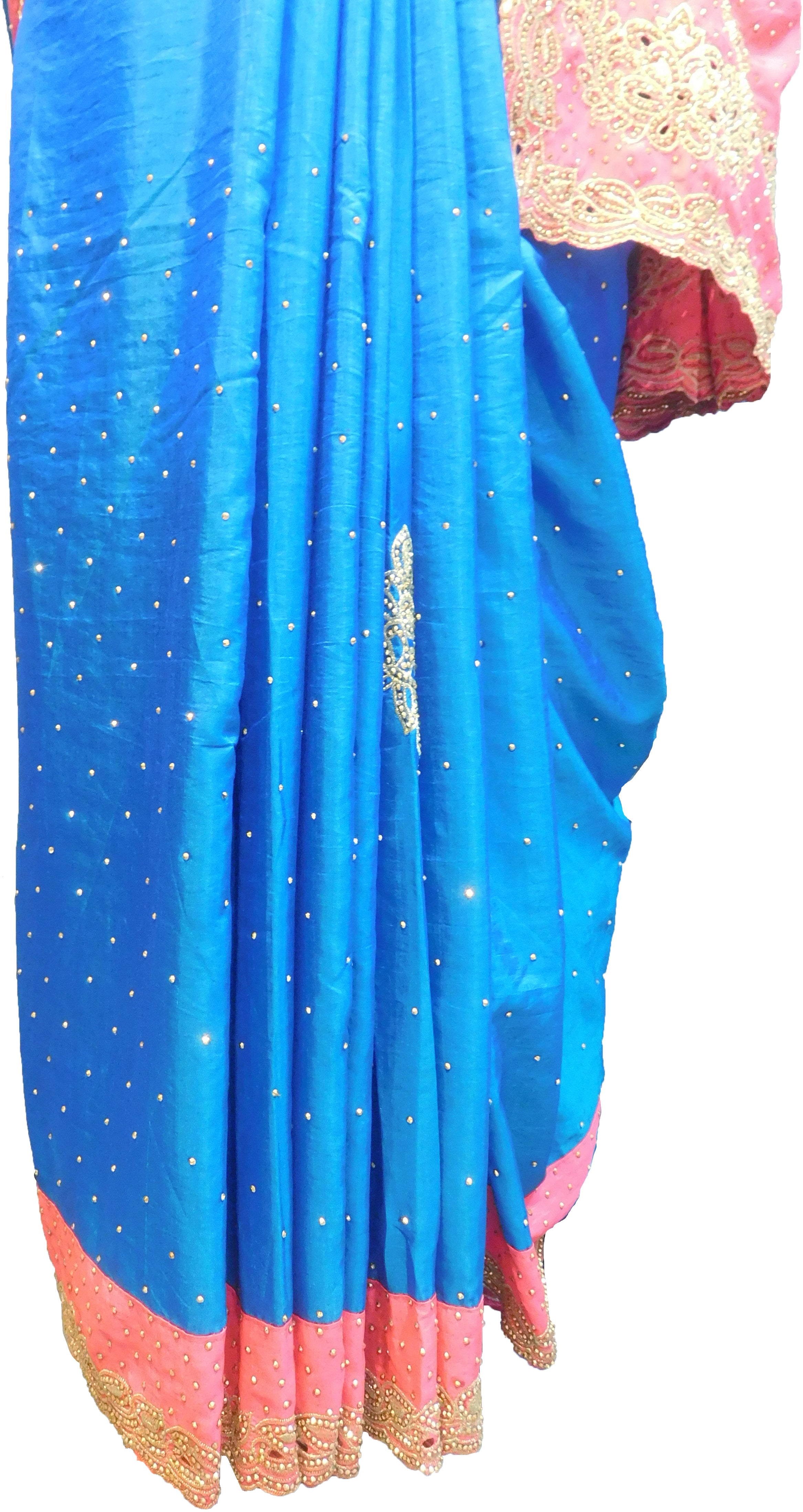 SMSAREE Blue & Pink Designer Wedding Partywear Silk Stone & Zari Hand Embroidery Work Bridal Saree Sari With Blouse Piece F309