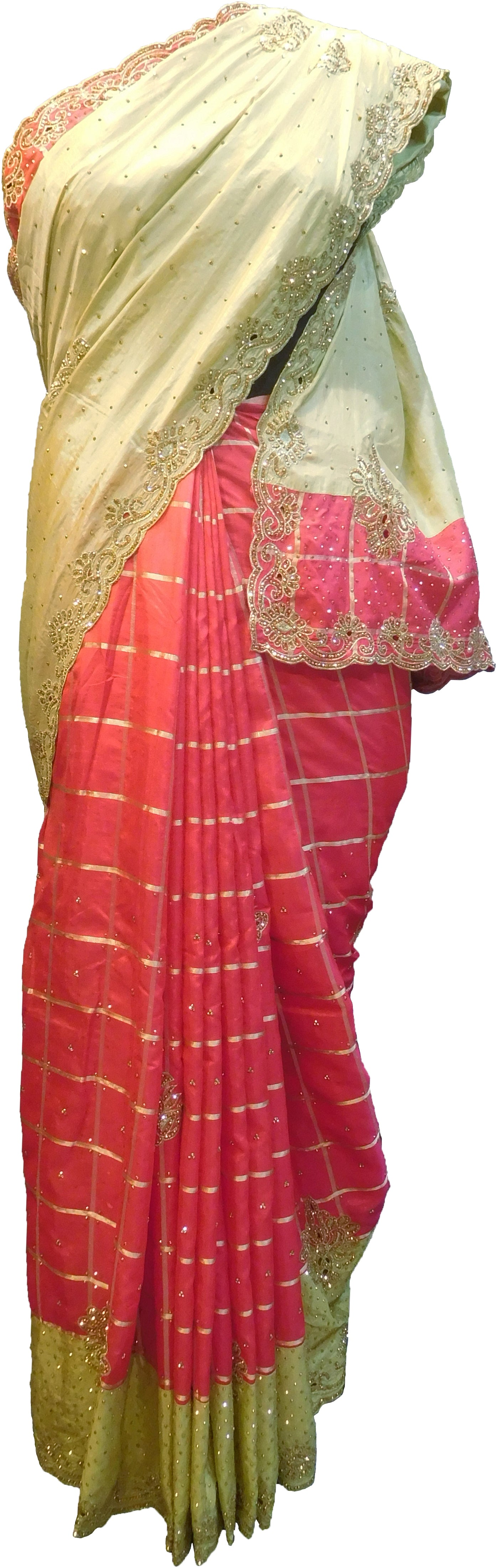 SMSAREE Beige & Pink Designer Wedding Partywear Silk Stone & Zari Hand Embroidery Work Bridal Saree Sari With Blouse Piece F310