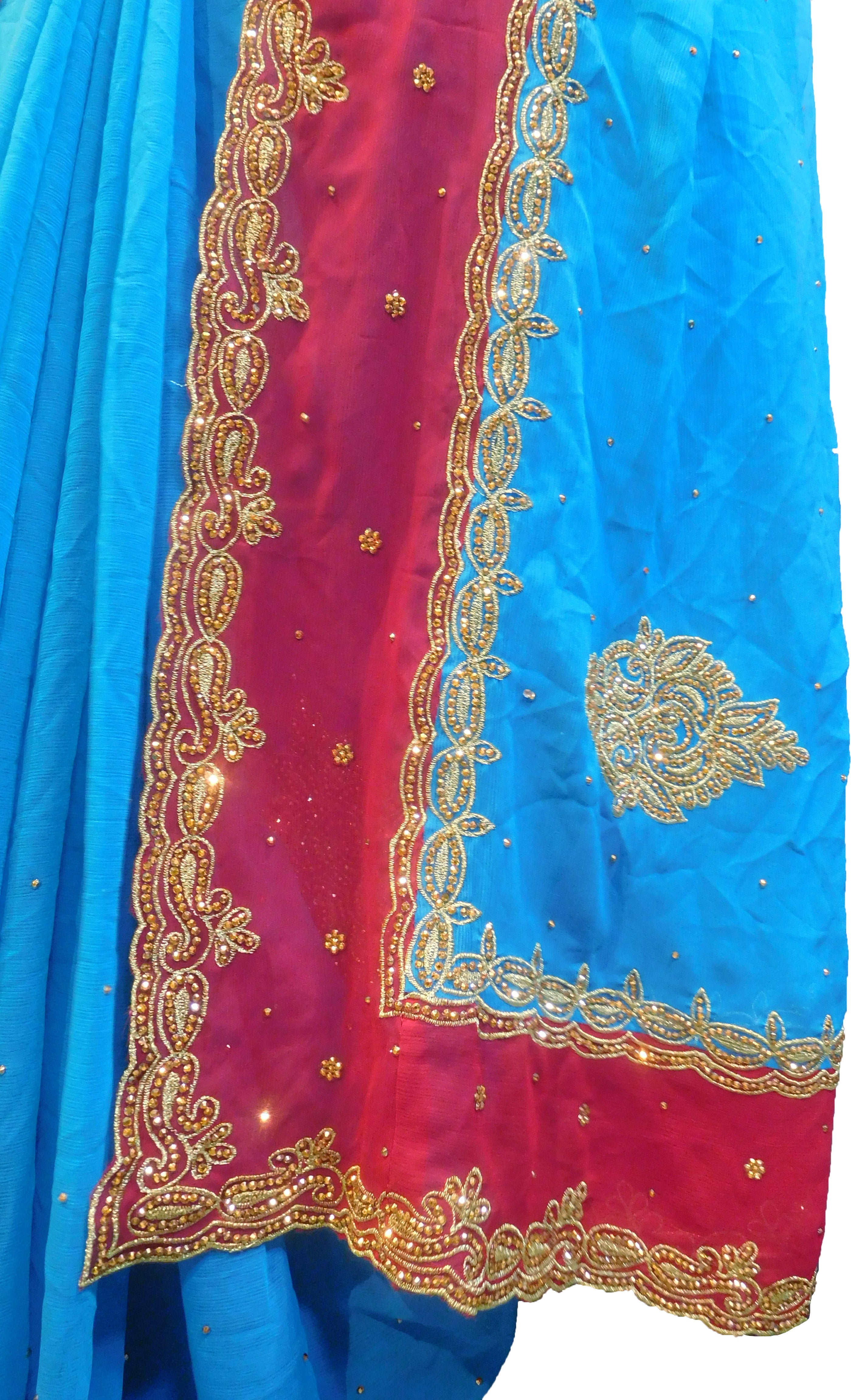 SMSAREE Blue & Red Designer Wedding Partywear Crepe (Chinon) Stone & Zari Hand Embroidery Work Bridal Saree Sari With Blouse Piece F315
