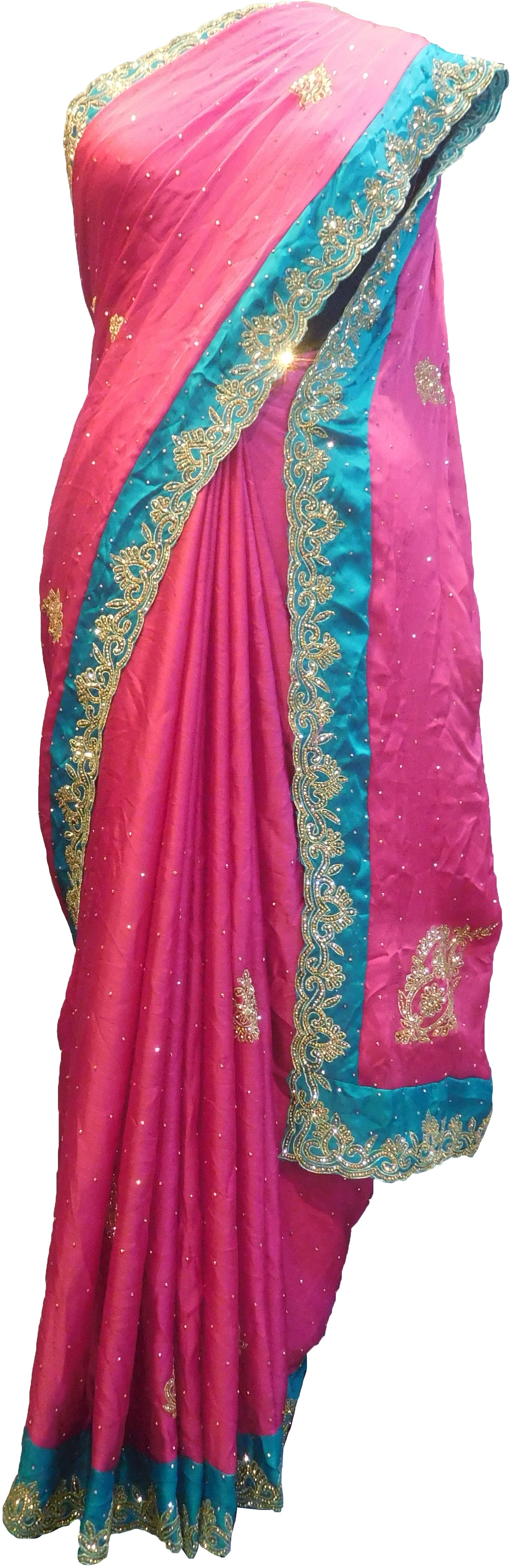 SMSAREE Pink & Turquoise Designer Wedding Partywear Crepe (Chinon) Stone & Zari Hand Embroidery Work Bridal Saree Sari With Blouse Piece F316