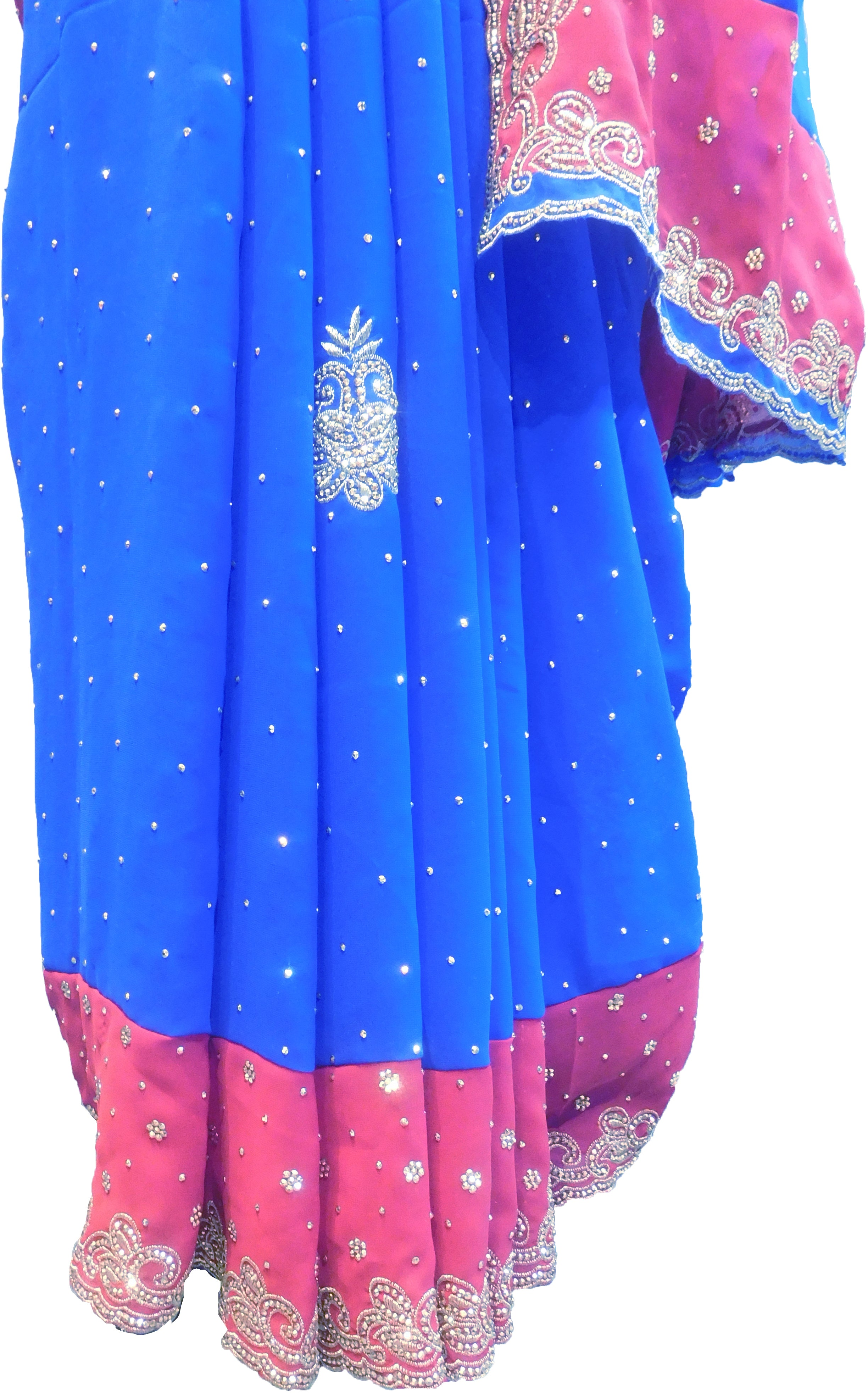 SMSAREE Blue & Red Designer Wedding Partywear Crepe (Chinon) Stone & Zari Hand Embroidery Work Bridal Saree Sari With Blouse Piece F319