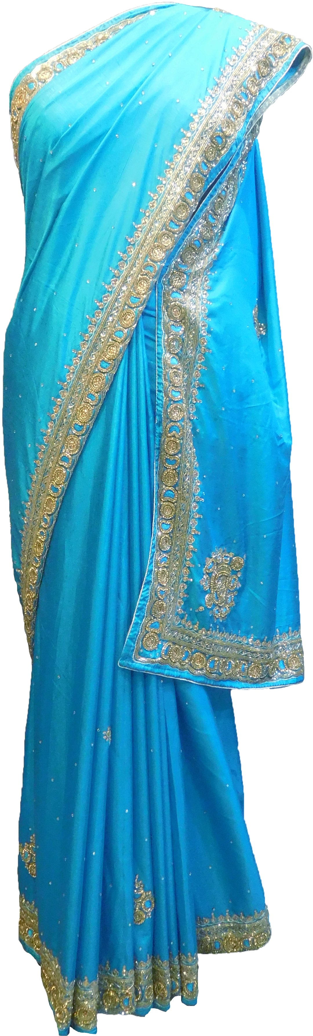 SMSAREE Turquoise Designer Wedding Partywear Silk Thread Stone & Cutdana Hand Embroidery Work Bridal Saree Sari With Blouse Piece F347
