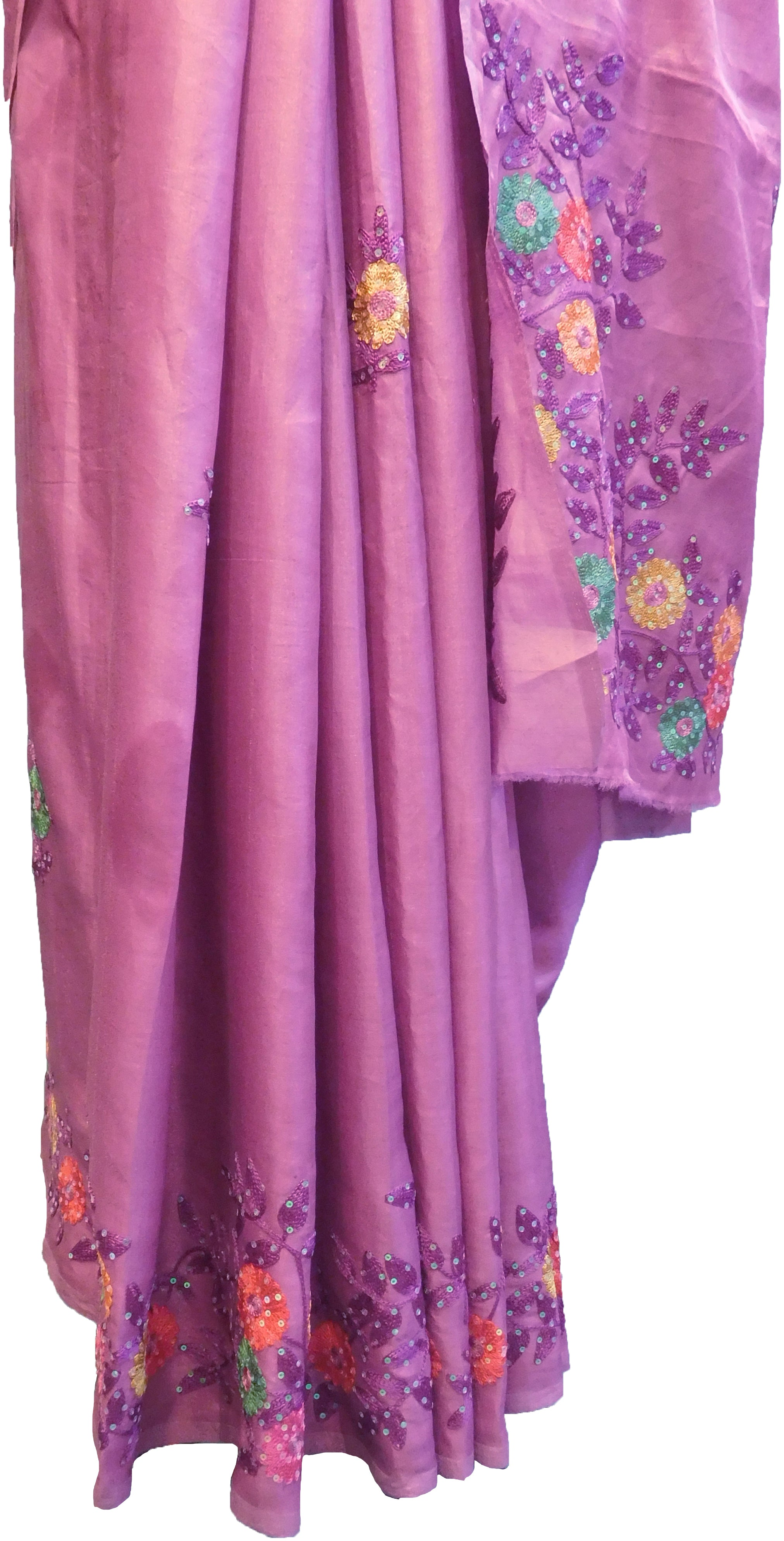 SMSAREE Lavender Designer Wedding Partywear Silk Stone & Sequence Hand Embroidery Work Bridal Saree Sari With Blouse Piece F350
