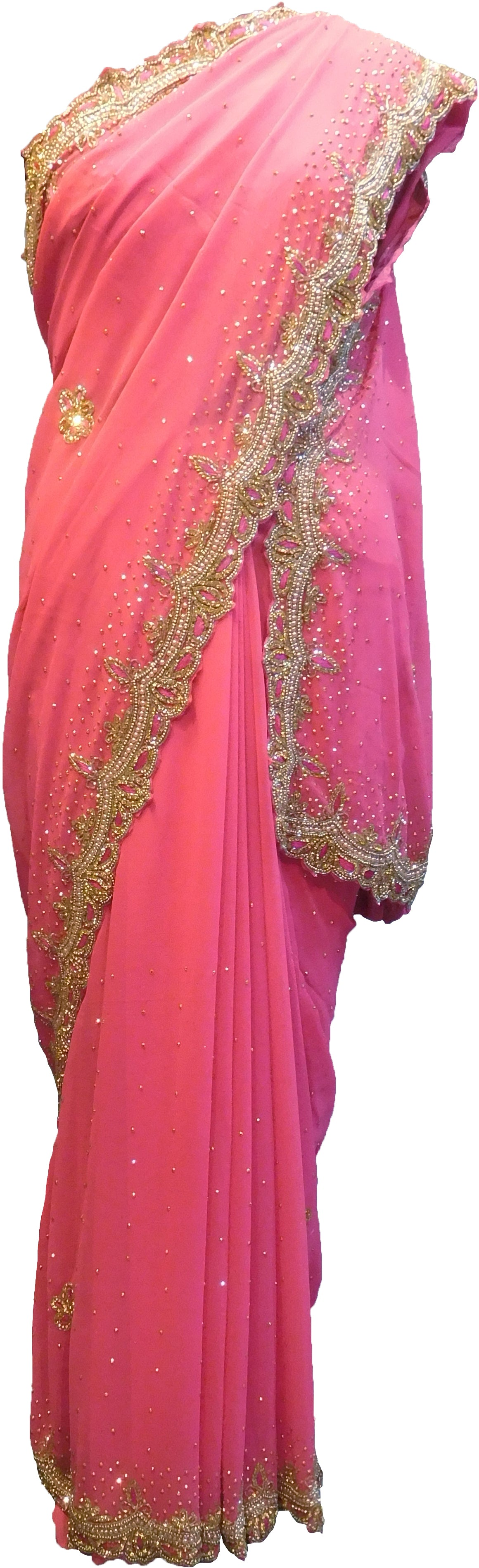 SMSAREE Pink Designer Wedding Partywear Georgette Cutdana Stone Beads Thread & Bullion Hand Embroidery Work Bridal Saree Sari With Blouse Piece F353