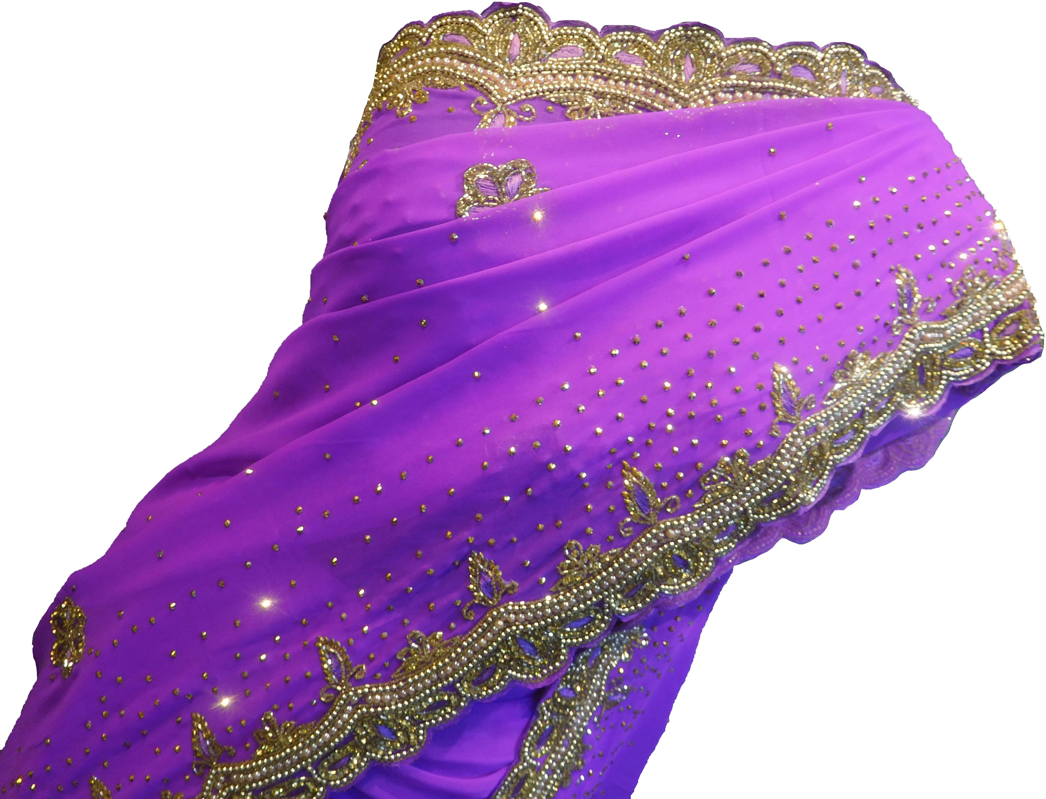 SMSAREE Purple Designer Wedding Partywear Georgette Cutdana Stone Beads Thread & Bullion Hand Embroidery Work Bridal Saree Sari With Blouse Piece F354