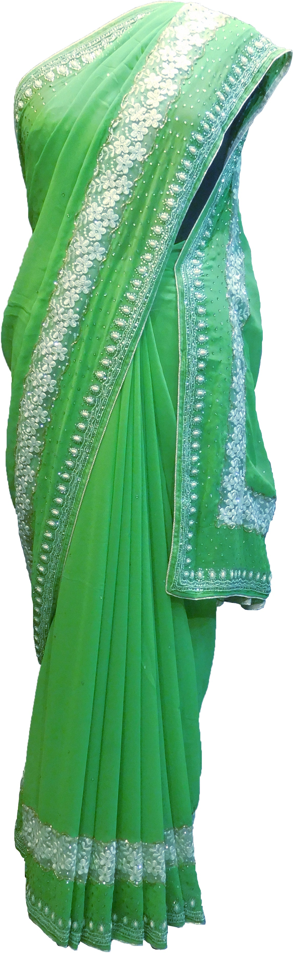 SMSAREE Green Designer Wedding Partywear Georgette Cutdana Stone Beads & Pearl Hand Embroidery Work Bridal Saree Sari With Blouse Piece F356