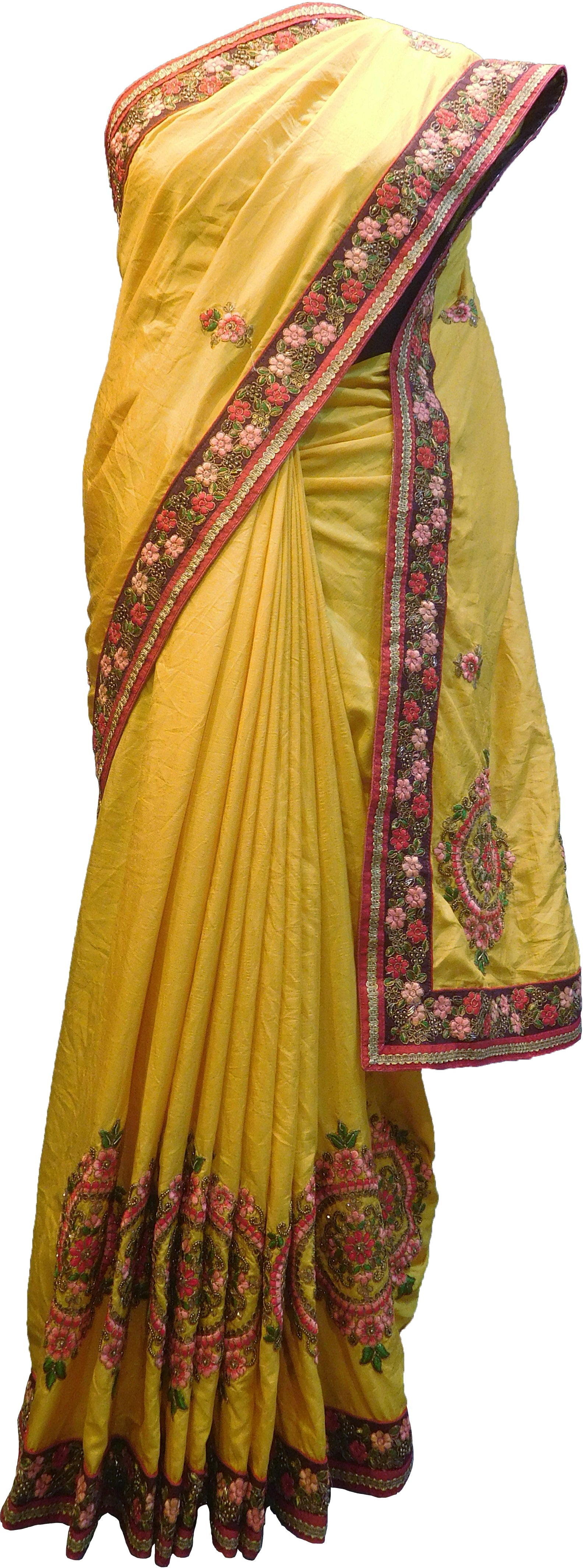 db57e1c4a6 SMSAREE Yellow Designer Wedding Partywear Silk Cutdana Stone Beads Thread  Sequence & Zari Hand Embroidery Work