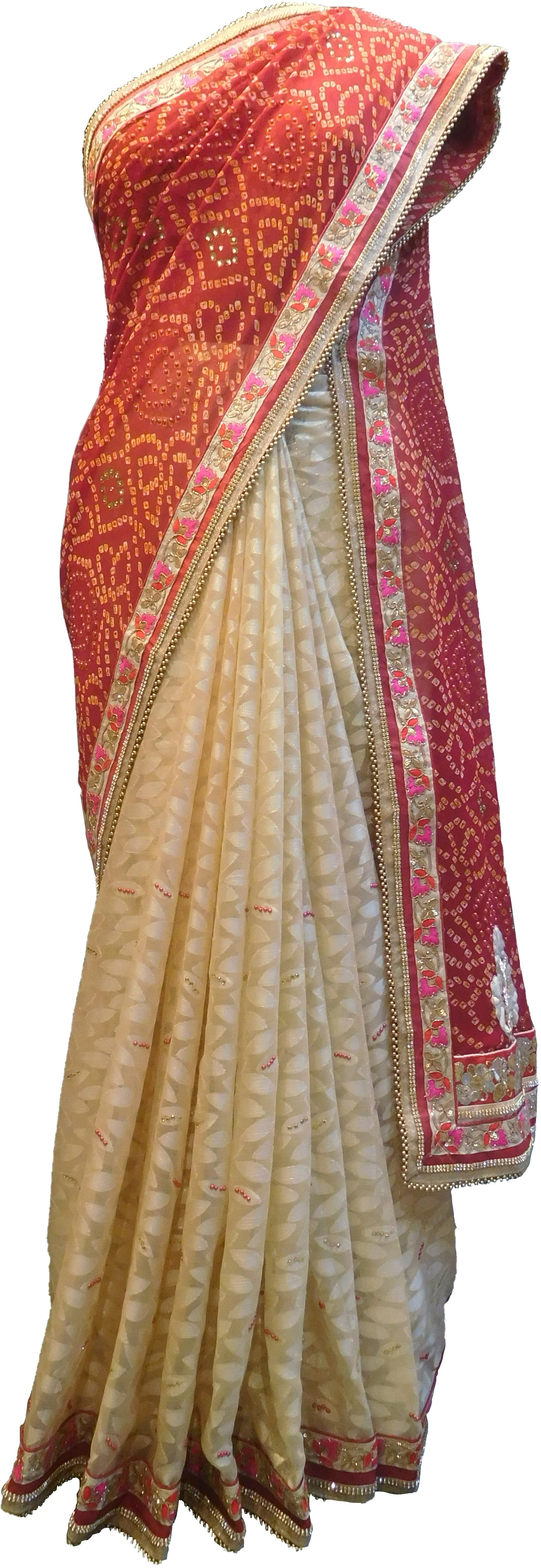SMSAREE Red & Cream Designer Wedding Partywear Georgette & Brasso Stone Bullion Thread Sequence & Zari Hand Embroidery Work Bridal Saree Sari With Blouse Piece F360