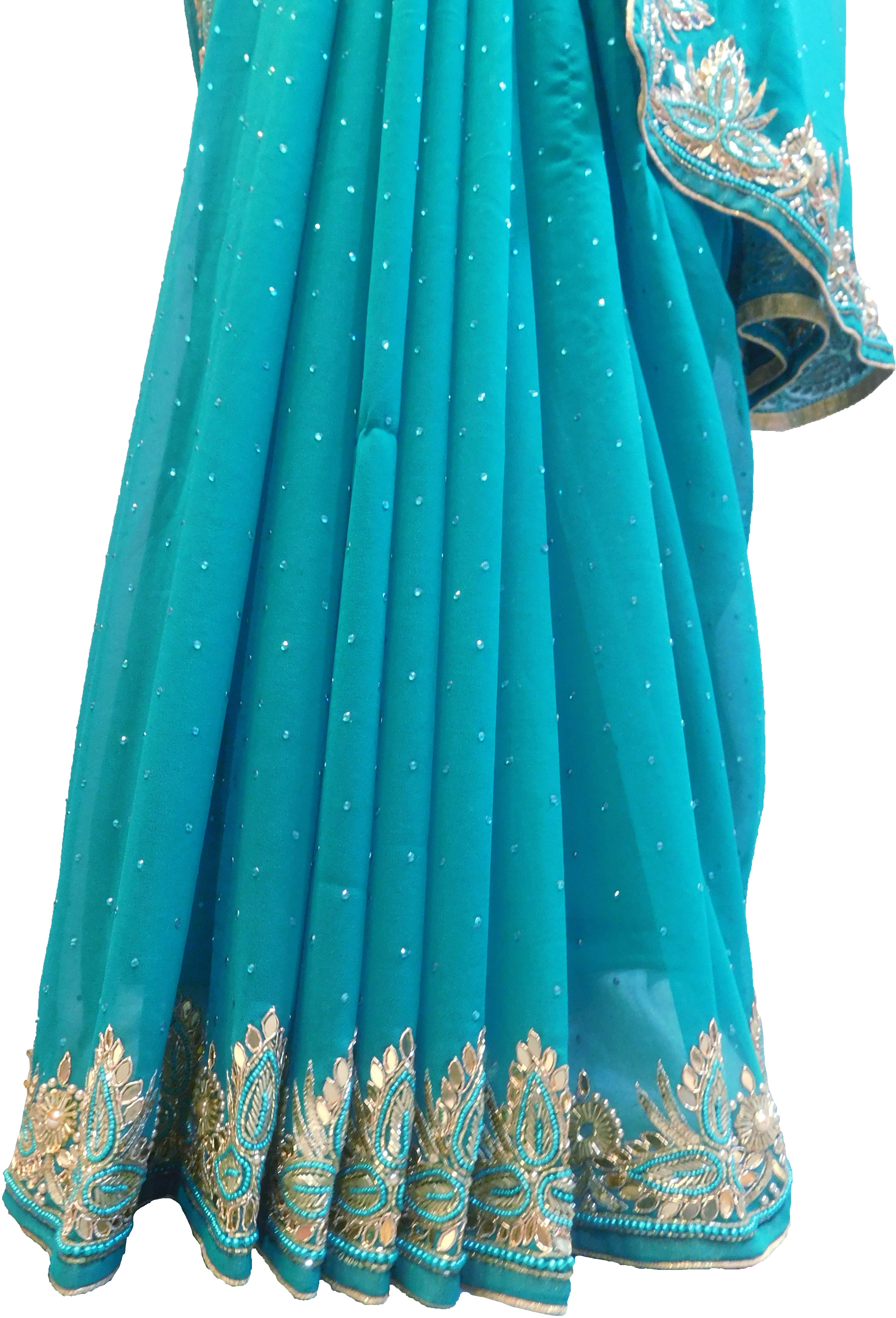 SMSAREE Turquoise Designer Wedding Partywear Georgette Cutdana Stone Beads Pearl & Bullion Hand Embroidery Work Bridal Saree Sari With Blouse Piece F366