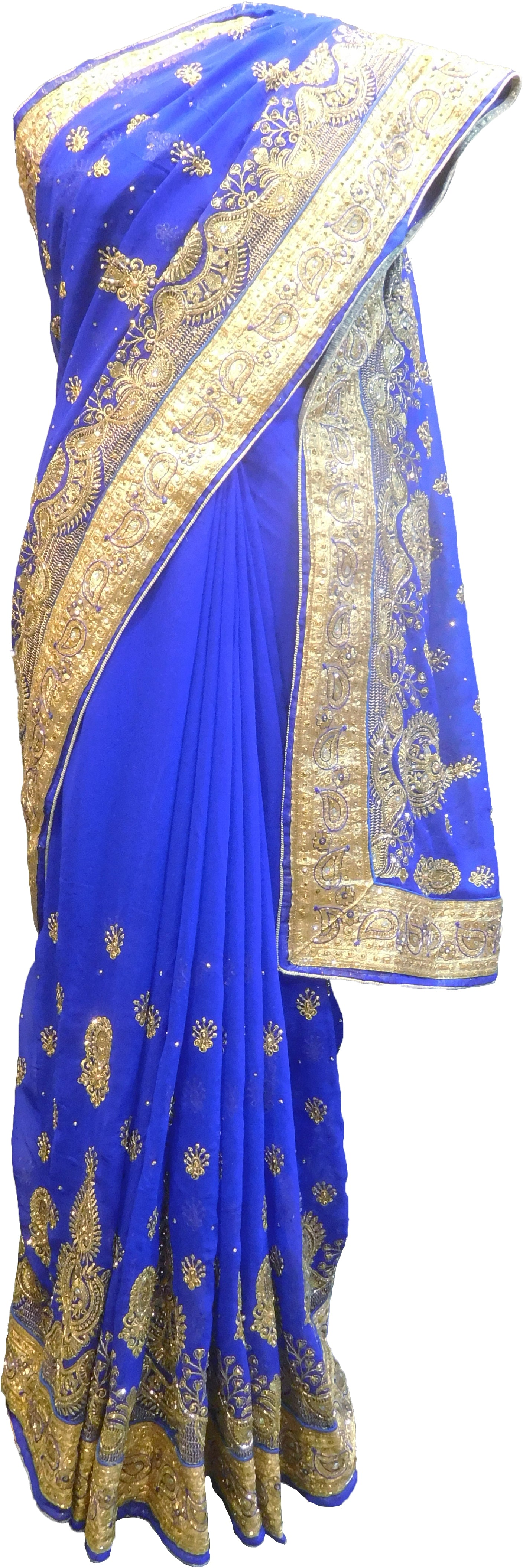 SMSAREE Blue Designer Wedding Partywear Georgette Stone Thread & Zari Hand Embroidery Work Bridal Saree Sari With Blouse Piece F374