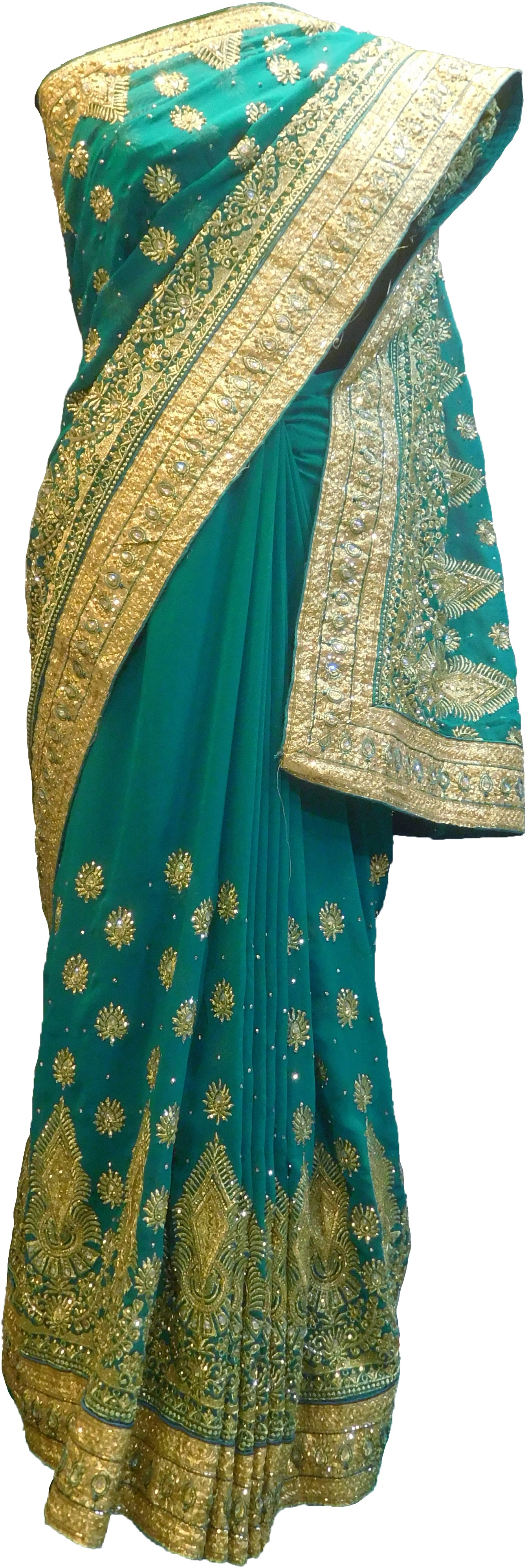 SMSAREE Turquoise Designer Wedding Partywear Georgette Stone Thread & Zari Hand Embroidery Work Bridal Saree Sari With Blouse Piece F383