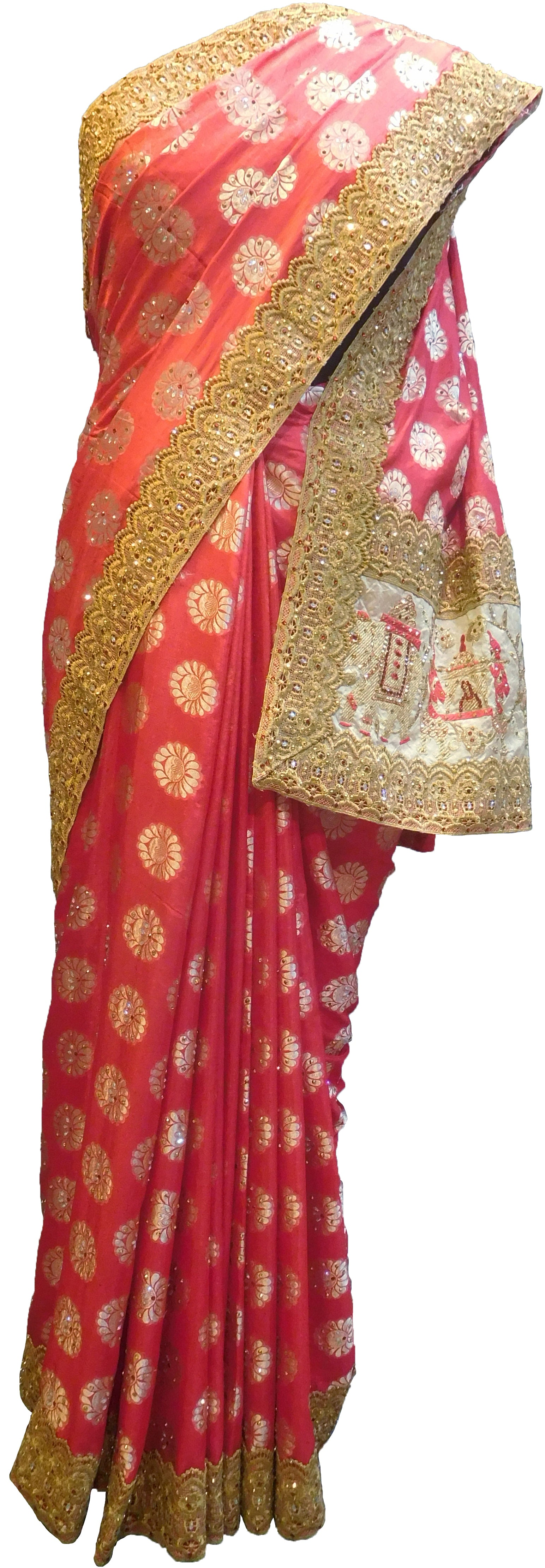 SMSAREE Red Designer Wedding Partywear Silk Stone Thread & Zari Hand Embroidery Work Bridal Saree Sari With Blouse Piece F400