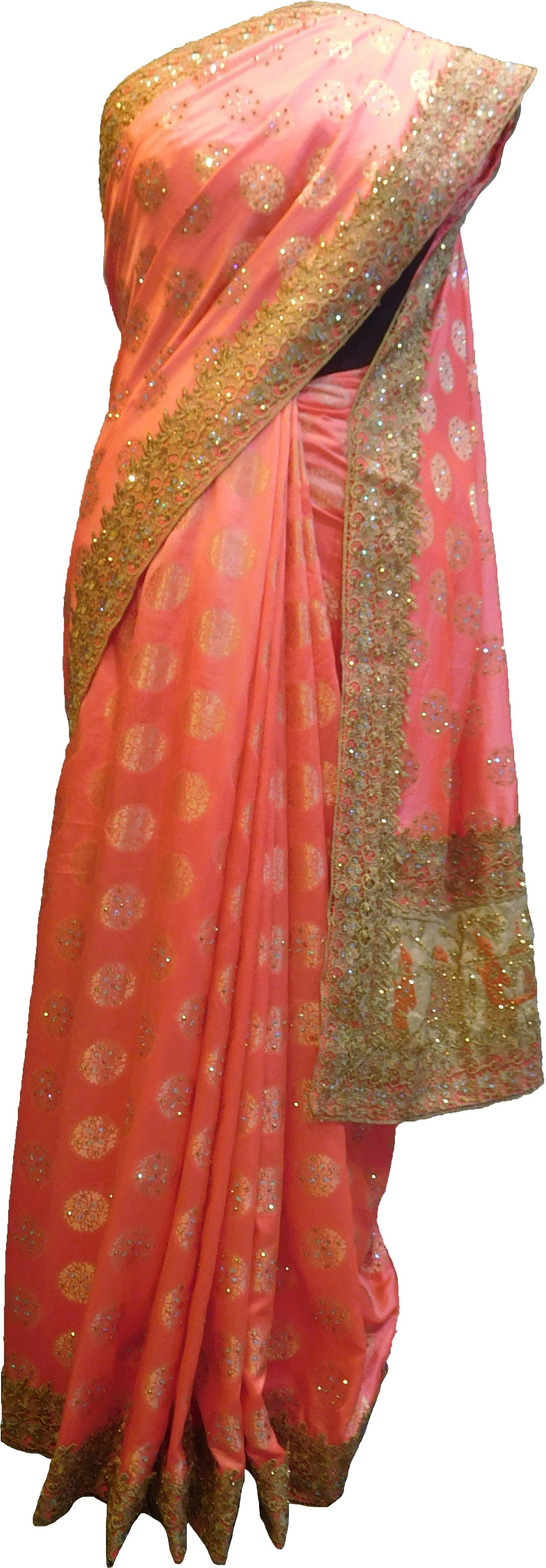 SMSAREE Pink Designer Wedding Partywear Silk Stone Thread & Zari Hand Embroidery Work Bridal Saree Sari With Blouse Piece F402