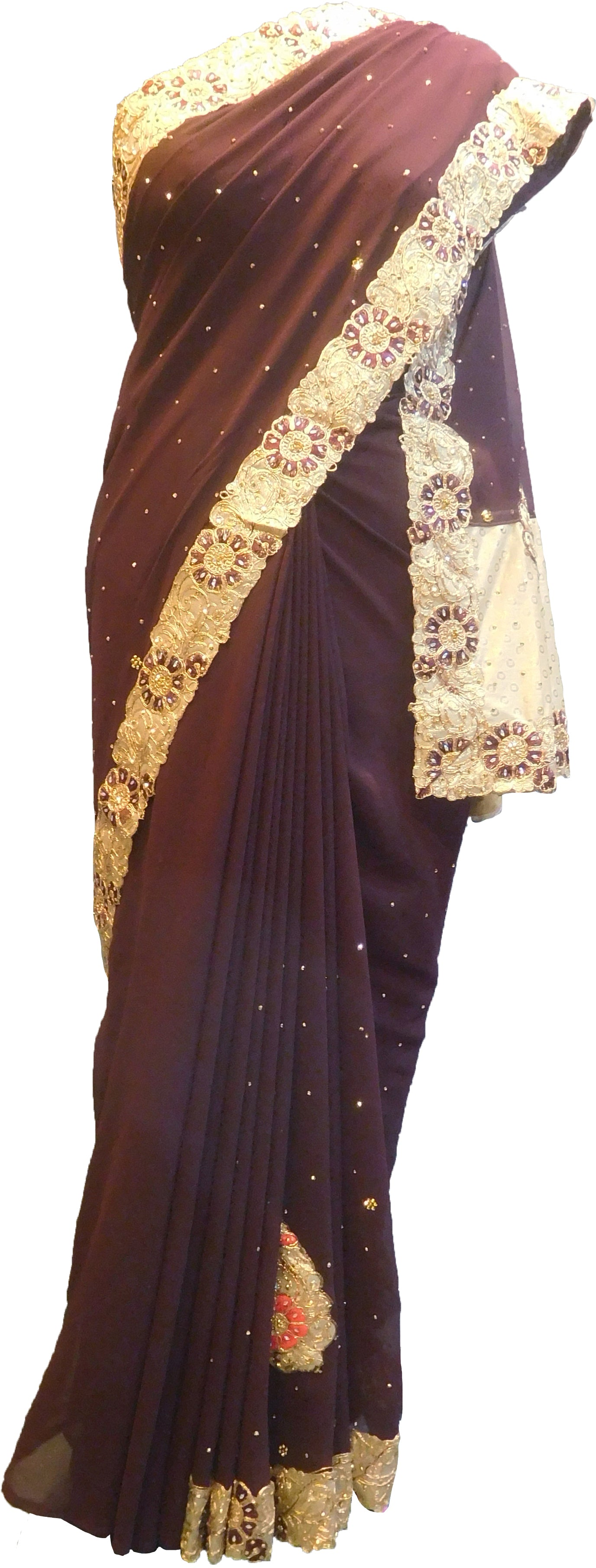 SMSAREE Coffee Brown Designer Wedding Partywear Georgette Stone Thread & Zari Hand Embroidery Work Bridal Saree Sari With Blouse Piece F409