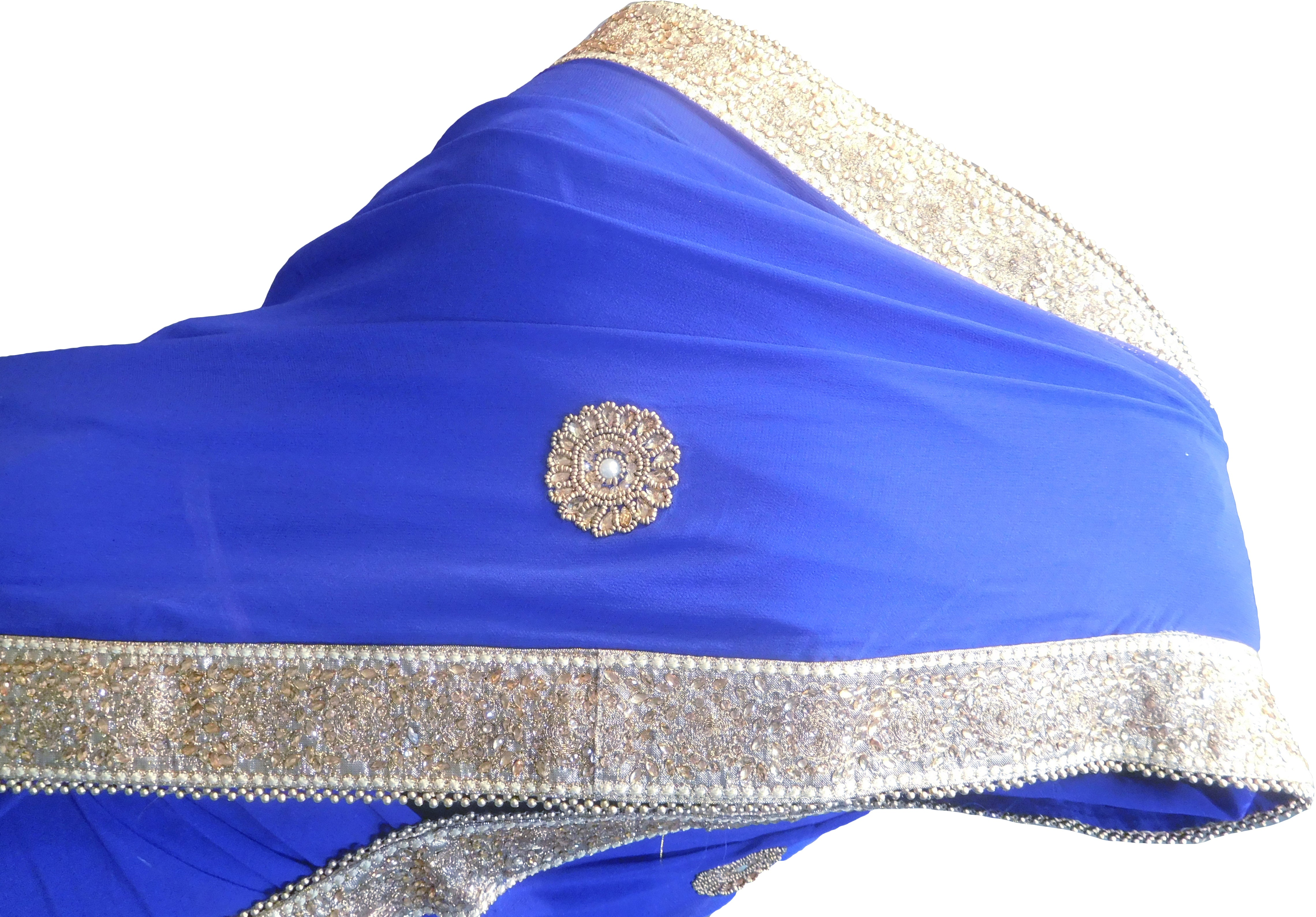 SMSAREE Blue Designer Wedding Partywear Georgette (Viscos) Stone Pearl Beads & Zari Hand Embroidery Work Bridal Saree Sari With Blouse Piece F431