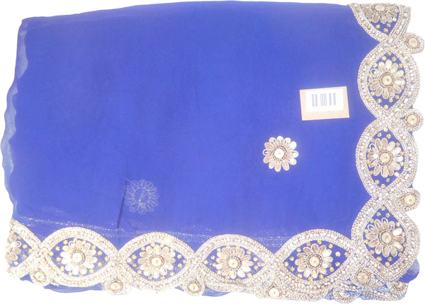 SMSAREE Blue Designer Wedding Partywear Georgette (Viscos) Stone Cutdana Thread Sequence & Zari Hand Embroidery Work Bridal Saree Sari With Blouse Piece F460