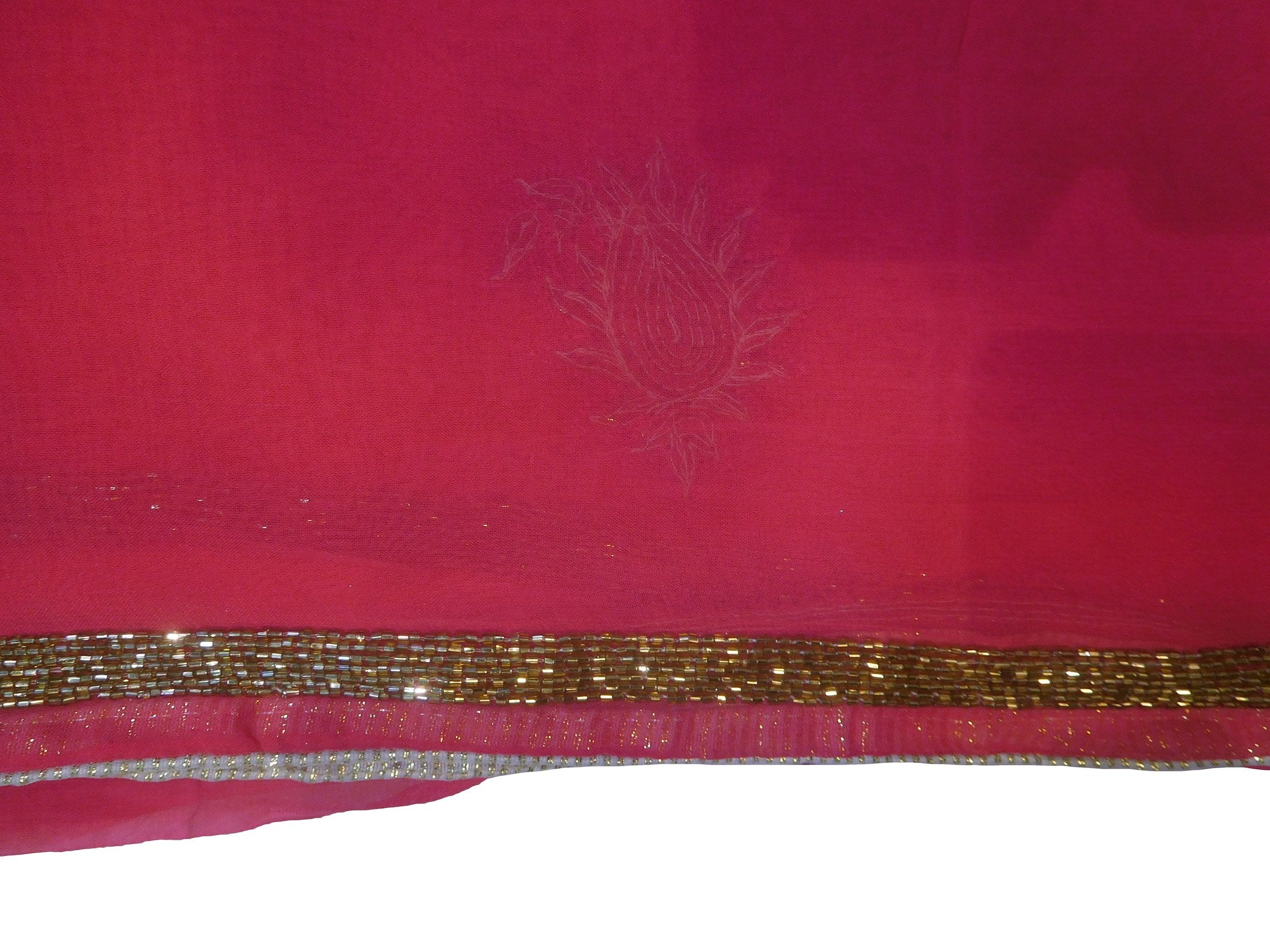 SMSAREE Pink Designer Wedding Partywear Georgette (Viscos) Cutdana Thread & Sequence Hand Embroidery Work Bridal Saree Sari With Blouse Piece F484
