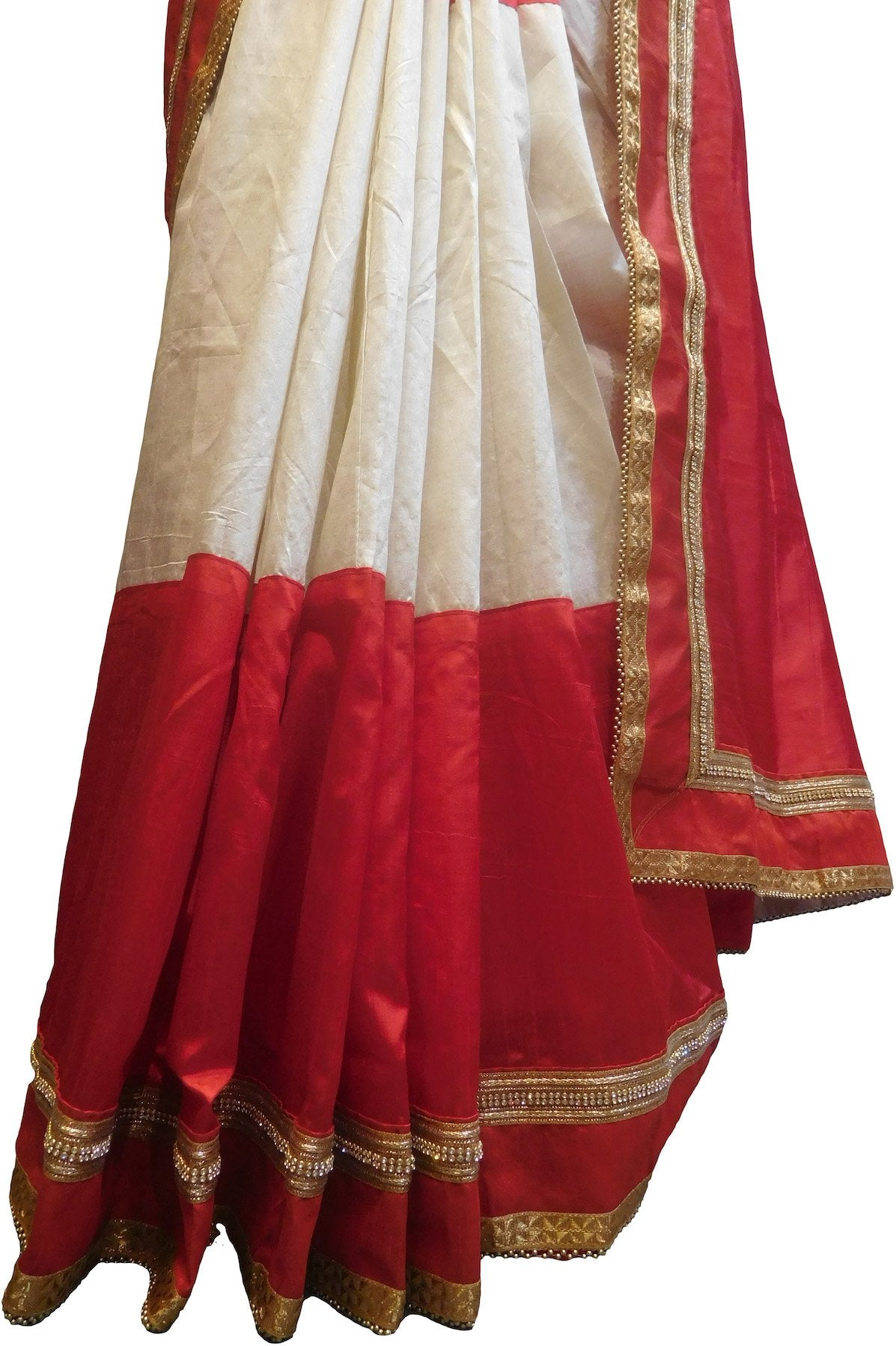 SMSAREE Red & White Designer Wedding Partywear Silk Zari & Stone Hand Embroidery Work Bridal Saree Sari With Blouse Piece F524