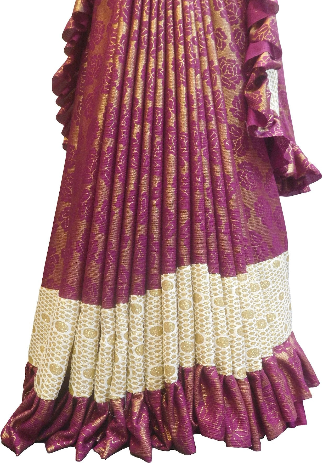 SMSAREE Wine Designer Wedding Partywear Georgette Frill Pattern Bridal Saree Sari With Blouse Piece F527