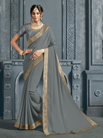 Grey Chiffon Jacquard Border Full Saree Sari