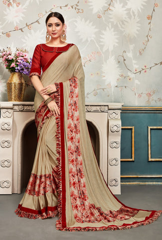 Beige Chiffon Embellished Fancy Designer Saree Sari