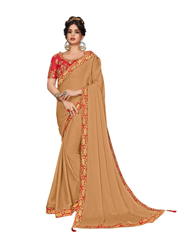 Brown Moss Chiffon Poly Silk Embroidered Jacquard Border Designer Saree Sari