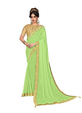 Green Moss Chiffon Poly Silk Embroidered Jacquard Border Designer Saree Sari