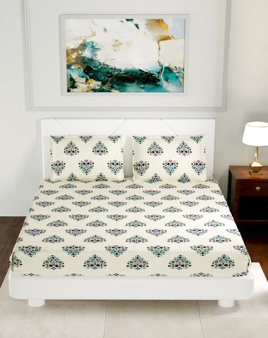 Floral Cream Premium Cotton Double Bed Bedsheet