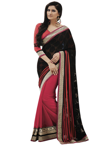 Black Brasso Half and Half Saree Sari