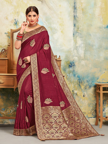 Maroon Poly Silk Embroidered With Jacquard Pallu Heavy Work Saree Sari