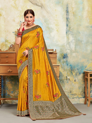 Yellow Poly Silk Embroidered With Jacquard Pallu Heavy Work Saree Sari