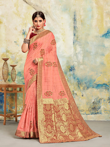 Pink Poly Silk Embroidered With Jacquard Pallu Heavy Work Saree Sari