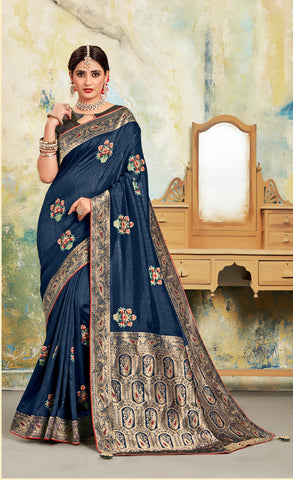 Navy Blue Poly Silk Embroidered With Jacquard Pallu Heavy Work Saree Sari