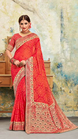 Red Poly Silk Embroidered With Jacquard Pallu Heavy Work Saree Sari