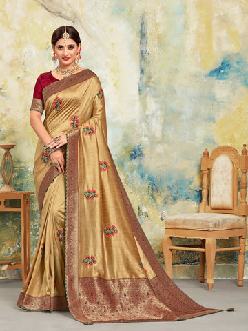 Gold Poly Silk Embroidered With Jacquard Pallu Heavy Work Saree Sari