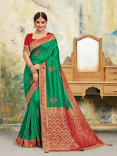 Green Poly Silk Embroidered With Jacquard Pallu Heavy Work Saree Sari