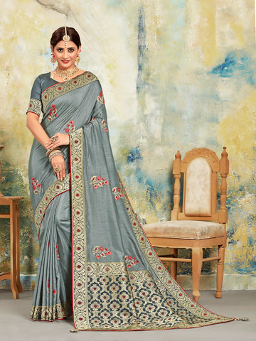 Grey Poly Silk Embroidered With Jacquard Pallu Heavy Work Saree Sari